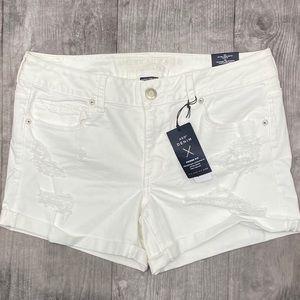 NWT American Eagle white distressed midi shorts